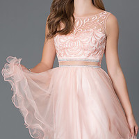 Short Sleeveless Peach Homecoming Dress 9151