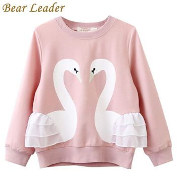 Bear Leader Girls T-Shirt 2017 Autumn Brand Baby Girls Full T-Shirt  Cute Cartoon Bird  Lace Shirts Children Clothing Blouse