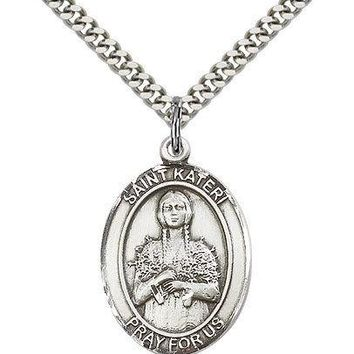 "Saint Kateri Medal For Men - .925 Sterling Silver Necklace On 24"" Chain - 30 ... 617759387278"