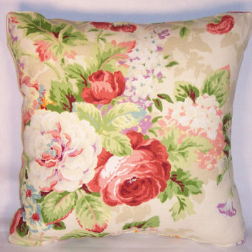 "Ivory and Pink Cottage Floral Throw Pillow Covington Lismore Gardens Multi 17"" Square Ready Ship Cover and Insert Country Roses Bouquet"