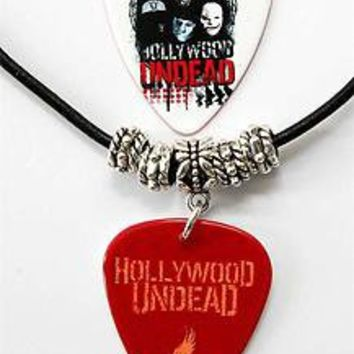 Hollywood Undead Guitar Pick Black Leather Necklace + Plectrum