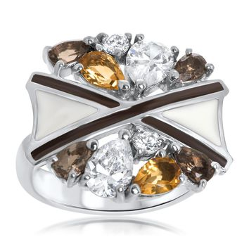 925 Silver Ring with Smoky Quartz, Yellow Citrine, Brown Enamel, White Enamel