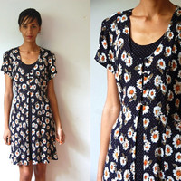 Vtg Dots and Daisies Print SS Back Tie Navy Dress