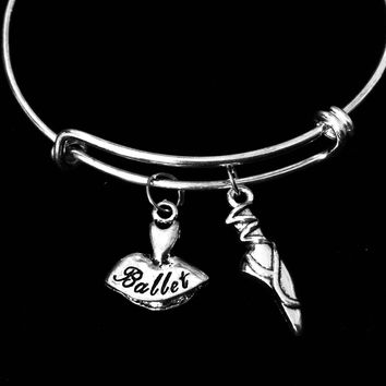 Ballet Shoes Ballerina Adjustable Bracelet Expandable Silver Charm Bangle Dance Gift