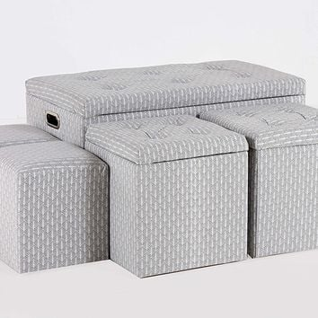 New Century® 5 Pieces Cloth Contemporary Storage Ottoman, Gray