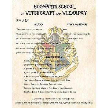 Harry Potter First Year Supply List for Hogwarts School of Witchcraft and Wizardry