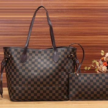 Tagre™ Louis Vuitton Fashion Leather Handbag Bag Cosmetic Bag Two Piece Set For Women 3 Style G