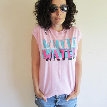 Vintage Screen Stars 80s Pink Sleeveless White Water/ Water Park/ Summer T Shirt