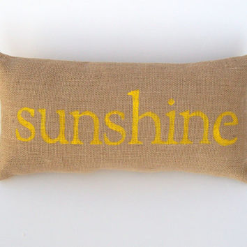 sunshine pillow, yellow pillow, sunshine beach house decor, yellow home decor, spring pillow, burlap pillow by whimsysweetwhimsy