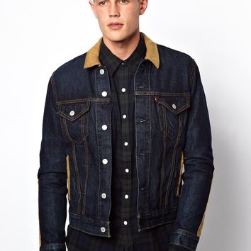 Levi's Denim Jacket Blanket Lined Trucker Cord Detail