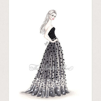 Fashion illustration print, Fashion art, girl art, girls room art, watercolor - Floral magic