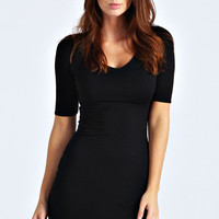 Maggie V-Neck Short Sleeve Bodycon Dress