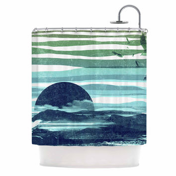 "Frederic Levy-Hadida ""Sea Scape"" Blue Stripes Shower Curtain"