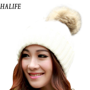 Warm Winter Hats For Women Girls Knitted Hat Warm Cap With Fur Woolen Slouch Beanie Bonnet Femme Beanies Balaclava Gorro 10