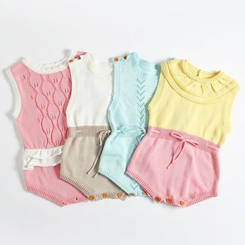 INS Hot Boys Infant Rompers Baby Girls jumpsuits Ruffles Princess Girl Sweet Knitted Overalls Infant Romper 60-100cm