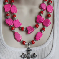 Hot Pink Turquoise Cowgirl Necklace, Rhinestone Cross Western Necklace