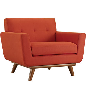 Modway Engage Armchair in Tufted Atomic Red Fabric W/ Cherry Wood Legs