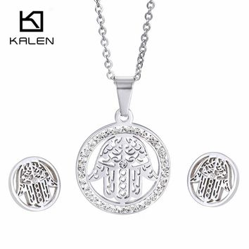 Kalen High Quality Stainless Steel Hamsa Hand Rhinestone Circle Silver Color Jewelry Set For Women Stud Earrings And Necklace