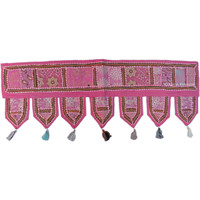 Pink Handmade Decorative Multi Patch Embroidery Window Valance Treatment on RoyalFurnish.com
