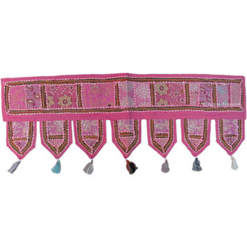 "38"" Indian Pink Handmade Patchwork Door Window Hanging Toran Treatment Art"