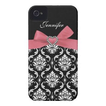 Pink Bow with Damask iPhone Case Iphone 4 Case-mate Cases from Zazzle.com