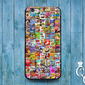 iPhone 4 4s 5 5s 5c 6 6s plus + iPod Touch 4th 5th 6th Generation Fun Cover Cute Cereal Collage Cool Breakfast Food Funny Case Squares