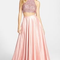 Women's Sherri Hill Sequin Crop Halter Tank & Skirt