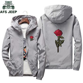 AFS JEEP Embroidery Rose Flower windbreaker Jacket men Big Size S-7XL Hooded bomber jacket Skin Mens Jackets jaqueta masculina