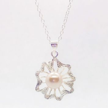 ON SALE - Dahlia Sterling Silver Flower & Creamy Pearl Bead Necklace