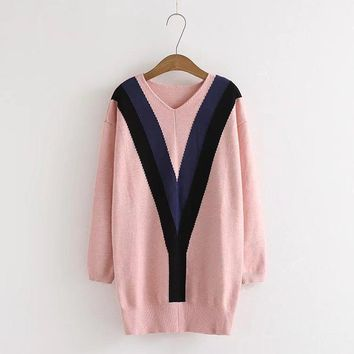 2017 Autumn And Winter Suit-dress New Pattern Pink Colour Heart-shaped Lead Easy Knitting Sweater Woman