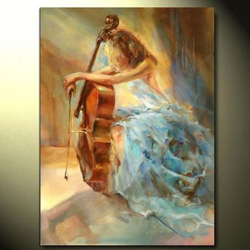 Large Modern Home Decoration Wall Art Picture Hand-painted Abstract Women Paintings Handmade Gril & Cello Oil Painting on Canvas