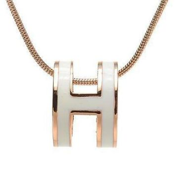 CREYUP0 Hermes Woman Fashion Logo Plated Necklace For Best Gift-2