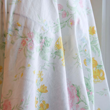 Sears Perma Prest Floral Vintage Bed Sheet - Twin Size Fitted Sheet
