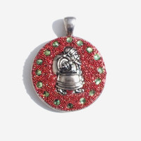 Red Crystal Clay, Green Swarovski Crystals, Metal Santa Claus and Red Micro Beads Make This Pendant, Necklace Great for Christmas