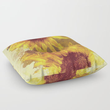 Peeping Sunflowers Floor Pillow by Theresa Campbell D'August Art