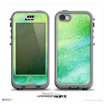 The Vibrant Green Watercolor Panel Skin for the iPhone 5c nüüd LifeProof Case