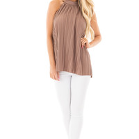Mocha Soft Pleated Key Hole Back Halter Tank with Tie Detail