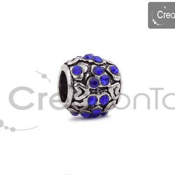 SALE Charm for any Pandora bracelet, barrel shaped bead with stones, heart patterns ra