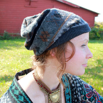 Earth Tones Fair Isle Native Geometric Pattern Recycled Sweater Slouchy Tam Hat Beanie By MountainGirlClothing