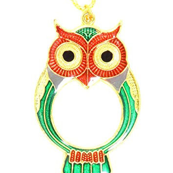 Owl Magnifying Glass Necklace Gold Tone Antique Bird Magnifier Lens Pendant NT17 Fashion Jewelry