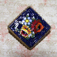 Murano Micro Mosaic Flower Pin, Italian Glass Brooch, Navy Blue,  Micromosaic Square Flower Brooch, Venetian Mid Century Jewelry 1017
