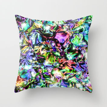Sparkly Rainbow Liquid Metal Throw Pillow by Blooming Vine Design
