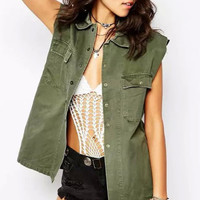 Sleeveless Faux Pockets Jacket in Army Green or Grey