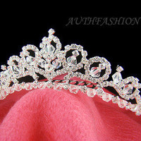 Bridal Tiara Head Pin Swarovski Crystal Sterling Silver Wire Wedding Crown C05