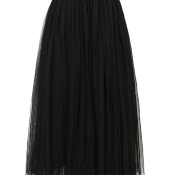 Black High Waist Midi Tulle Skirt