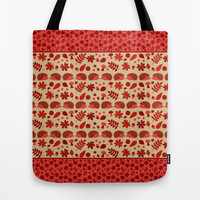 Red Autumn Hedgehogs Tote Bag by Swissette
