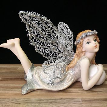 Silver yarn Wings Flower Fairy Figurines Resin Angel Ornaments Home Decor Wedding Gifts Beautiful Girl Car Decoration