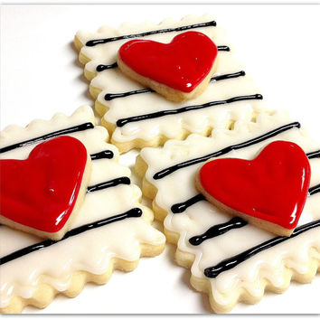 Valentine Hearts & Stripes Sugar Cookies Iced Decorated Cookie Favors