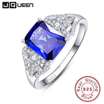 JQUEEN 3 Carats Blue Tanzanite Stone 925 Sterling Silver Ring Emerald Cut Wedding Party Trendy Jewelry Accessories With Gift box
