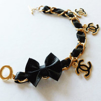 Black Leather Chanel Inspired Charm Bracelet with Leather Bowtie